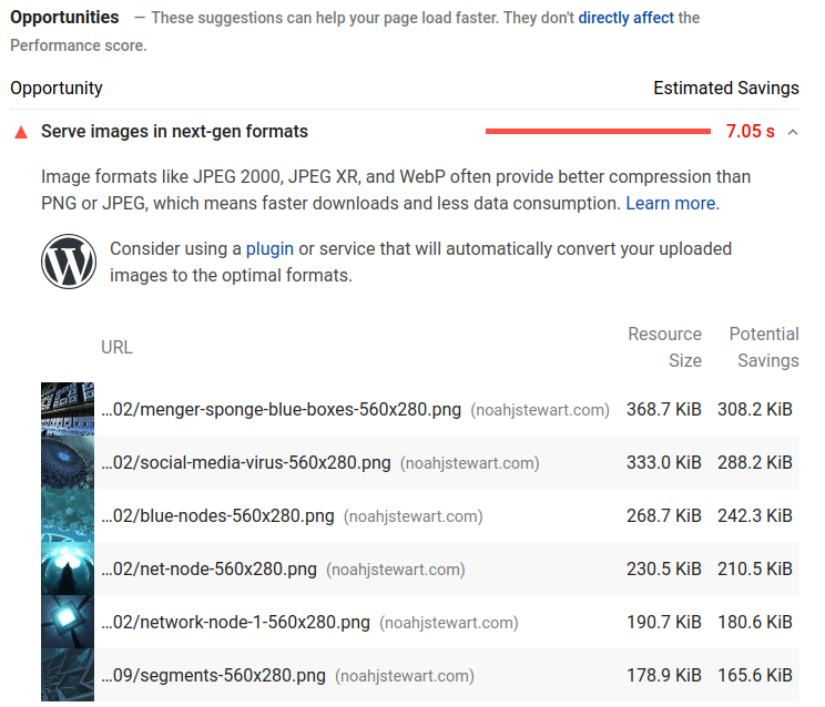 Google PageInsights Opportunities relating to the webp image format