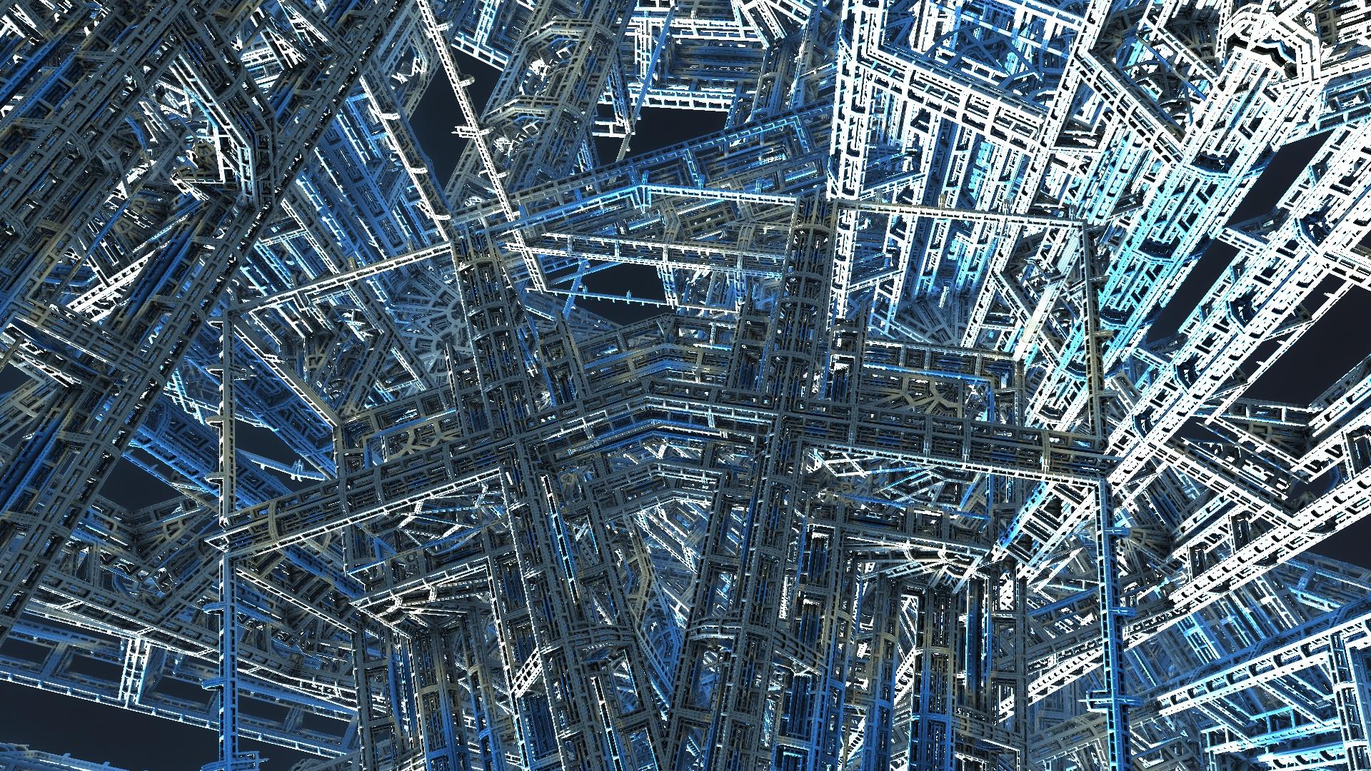 Fractal rendering of blue girders